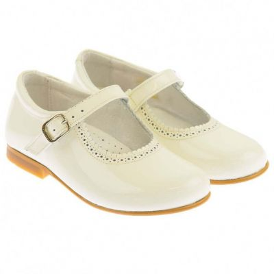 Andanines Ivory Patent Mary Jane Shoes