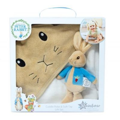 Beatrix Potter Peter Rabbit Soft Toy and Cuddle Robe Gift Set