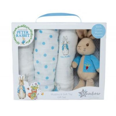 Beatrix Potter Peter Rabbit Toy and Musilin Gift Set