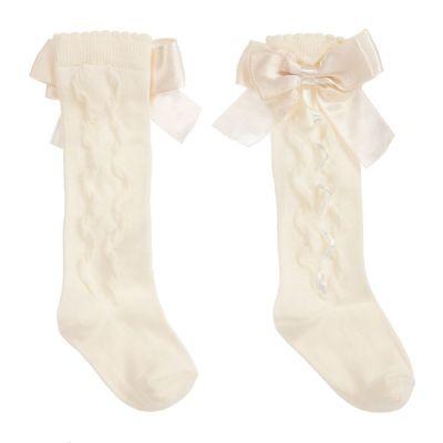 Caramelo Kids Ivory Knee Ribbon Socks