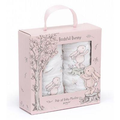 Jellycat Pink Bashful Bunny Muslin Pack