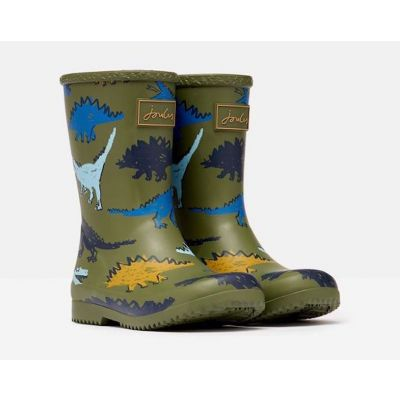 Joules Boys Roll Up Green Dino Wellies
