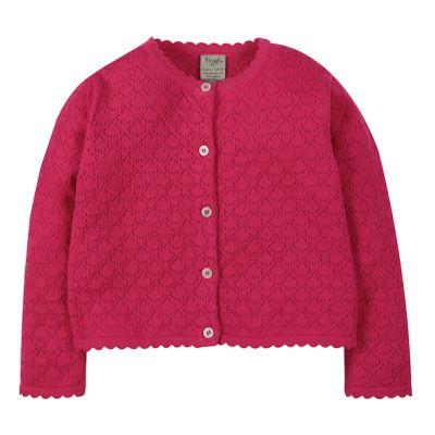 Frugi Girls Pink Pea Pointelle Cardigan KWS112