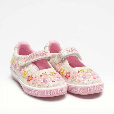 Lelli Kelly White Glitter Swan Shoe LK1074