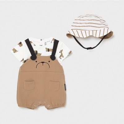 Mayoral Baby Boys Caramel Shortie and Hat 1636