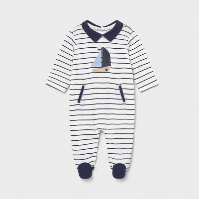 Mayoral Baby Boys Navy Striped Boat Sleepsuit 1628