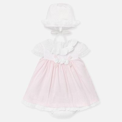 Mayoral Baby Girls Pink Dress and Bonnet Set 1855