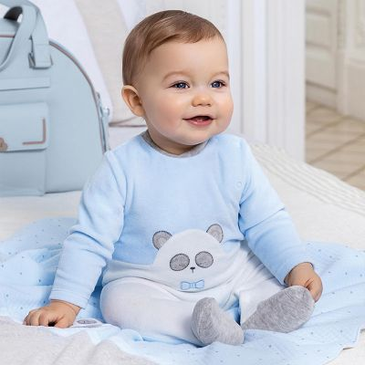 Mayoral Blue Baby Velour Onesie Pyjamas 2766