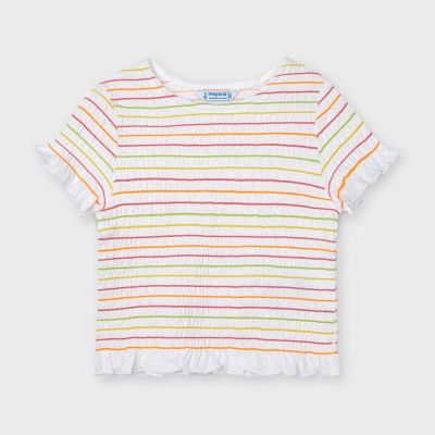 Mayoral Girls Multi Striped Ruched Top 3008