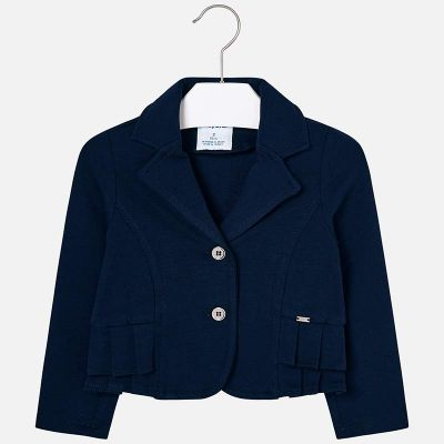 Mayoral Girls Navy Pleated Blazer Jacket 3405