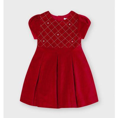 Mayoral Girls Red Velvet Dress 4912