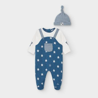 Mayoral Navy Baby Star Onesie Babygrow and Hat 2634