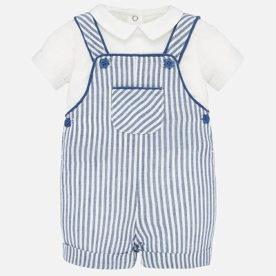 Mayoral Shirt and Striped Dungaree Set 1678