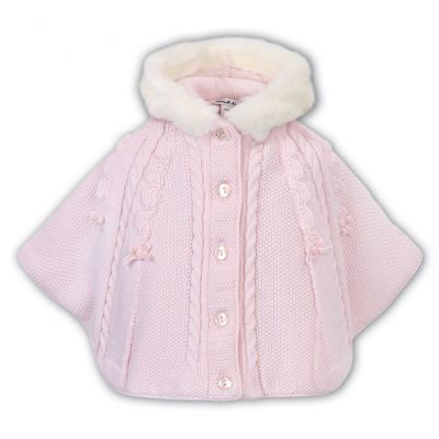 Sarah Louise Baby Girls Knitted Poncho 008096