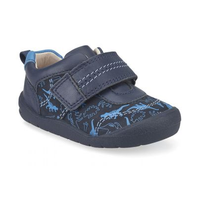 Start-Rite Boys Footprint Navy Dino First Shoe