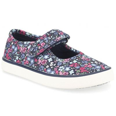 Start-Rite Girls Navy Blossom Canvas Shoe