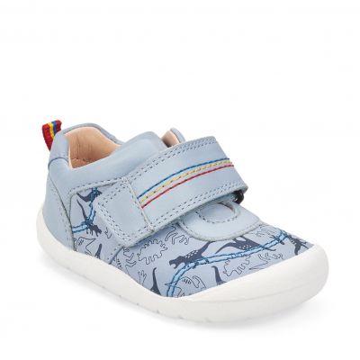 Start Rite Boys Footprint Pale Blue Dino First Shoe
