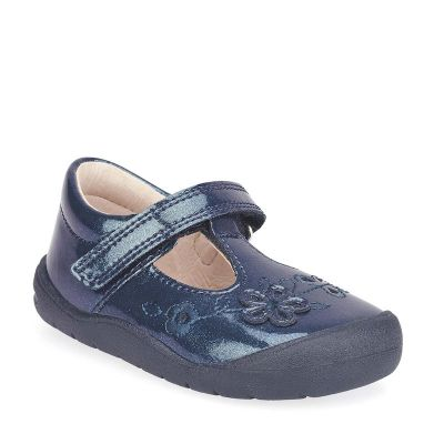 Start Rite Girls Mia Navy Gllitter Patent Shoes