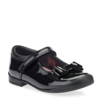 Start Rite Girls Pussycat Bow Patent School Shoes