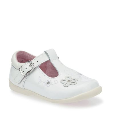 Start Rite Girls T-Bar Sunflower White Patent Shoes