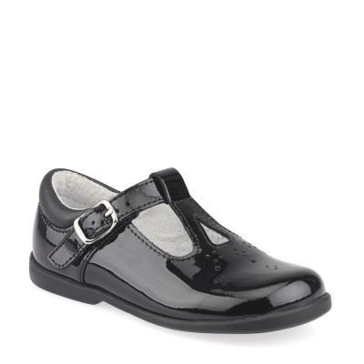 Start Rite Girls T-Bar Swirl Black Patent Shoes