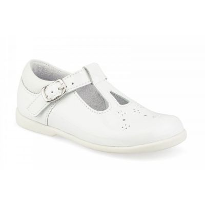 Start Rite Girls White Swirl T-Bar Patent Shoe