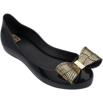 Zaxy Girls Black Joy Chrome Bow Shoes