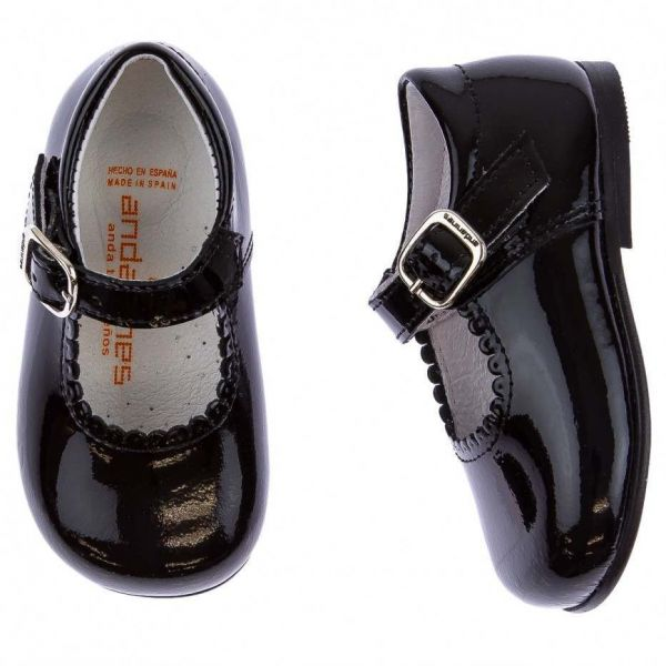 Andanines Black Patent Baby Mary Jane Shoes