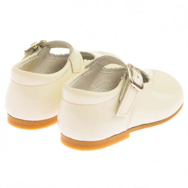 Andanines Ivory Patent Baby Mary Jane Shoes