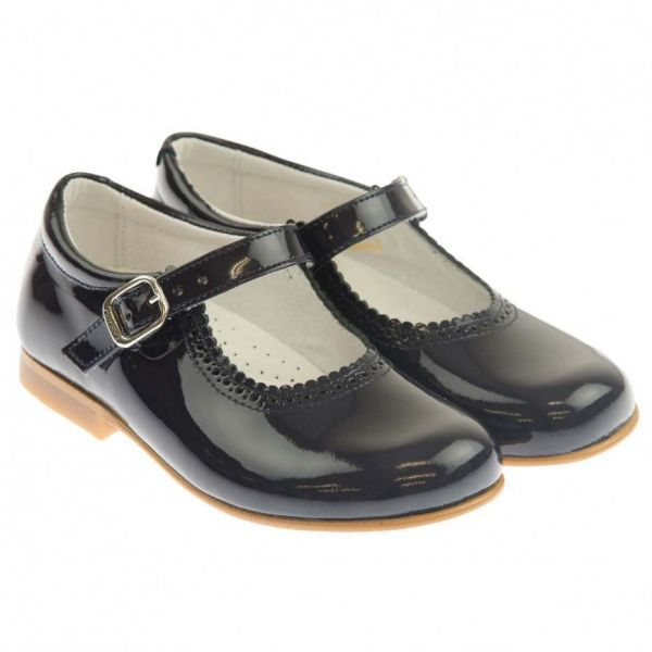 Andanines Navy Patent Mary Jane Shoes