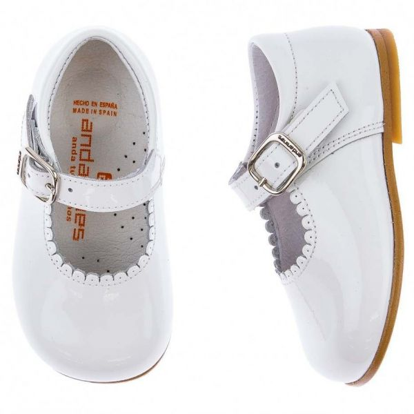 Andanines White Patent Baby Mary Jane Shoes