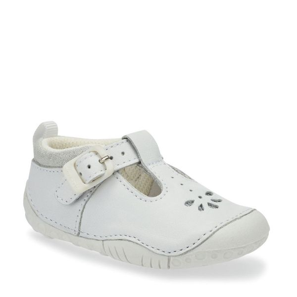Start Rite Girls White Leather Pre-Walkers Bubble