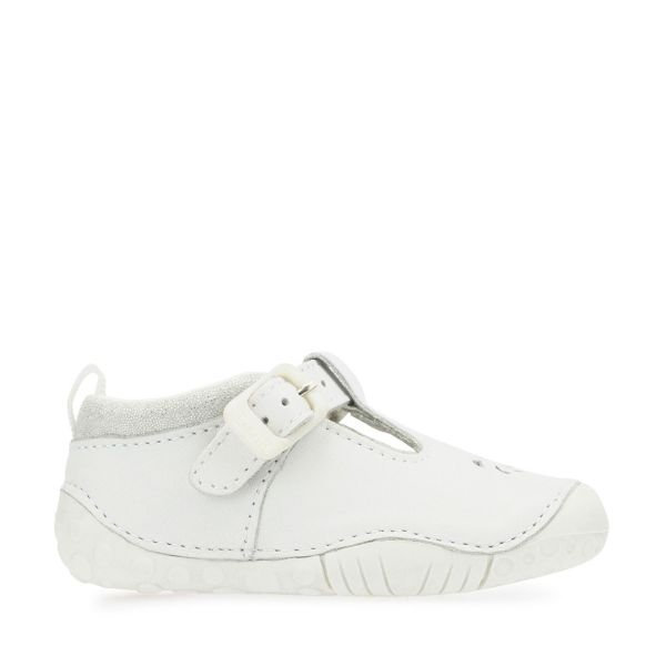 Start Rite Girls White Leather Pre-Walkers Bubble