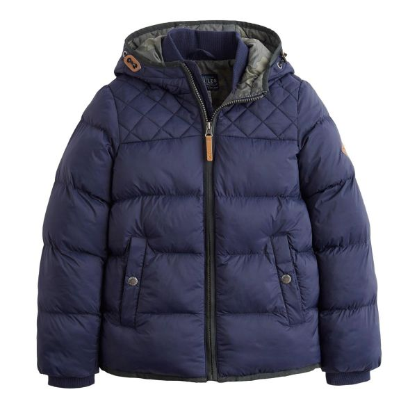 Joules Boys Quilted Navy Jacket Everett