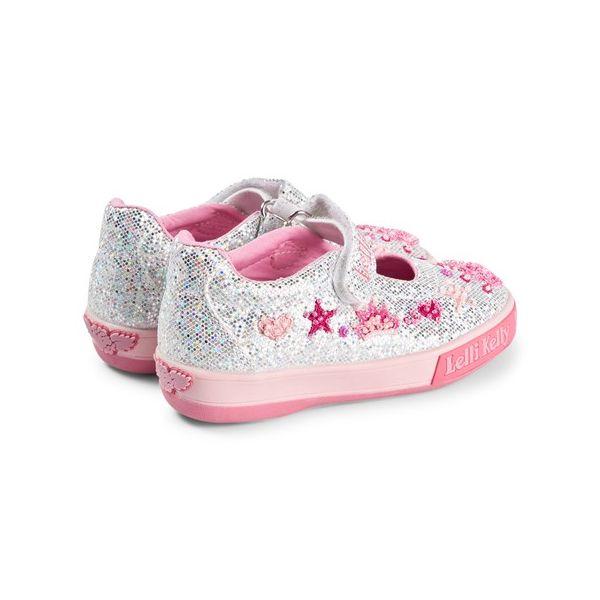 Lelli Kelly LK1078 Tiara Silver Canvas Shoe