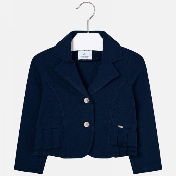 Mayoral Girls Navy Pleated Blazer Jacket 3405