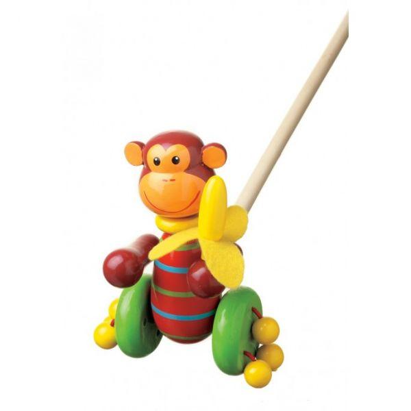 Orange Tree Monkey Push Along Toy