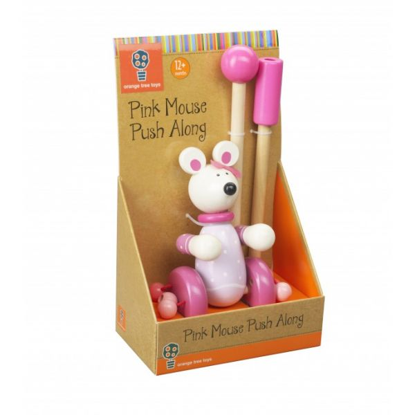 Orange Tree Mouse Push Along Toy