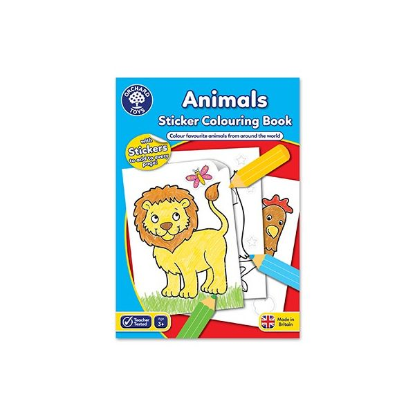 Orchard Toys Animals Sticker Colouring Book