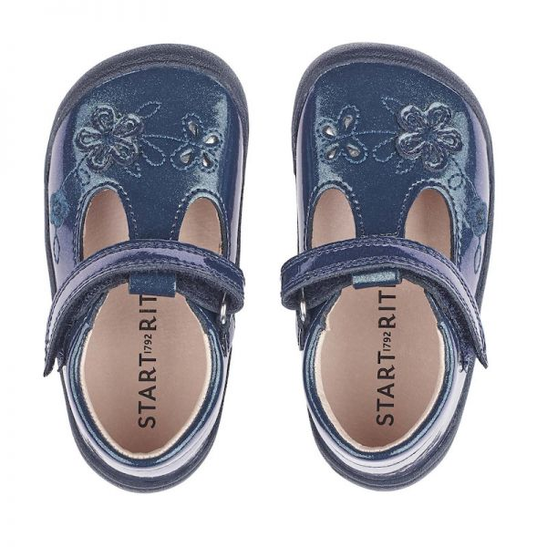 Start Rite Girls Mia Navy Gllitter Patent Shoes