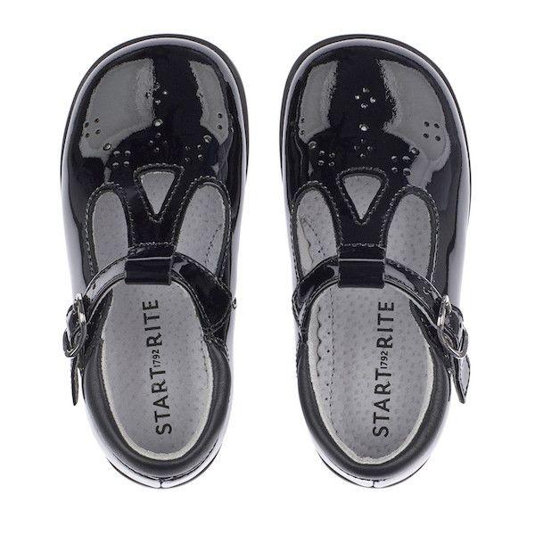Start Rite Girls T-Bar Swirl Black Patent Shoes