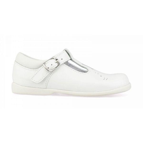 Start Rite Girls White Swirl T-Bar Patent Shoe